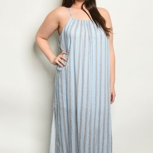 Dresses - Blue stripe plus size dress maxi